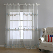 100% polyester white embroidered hall divider sheer voile curtain