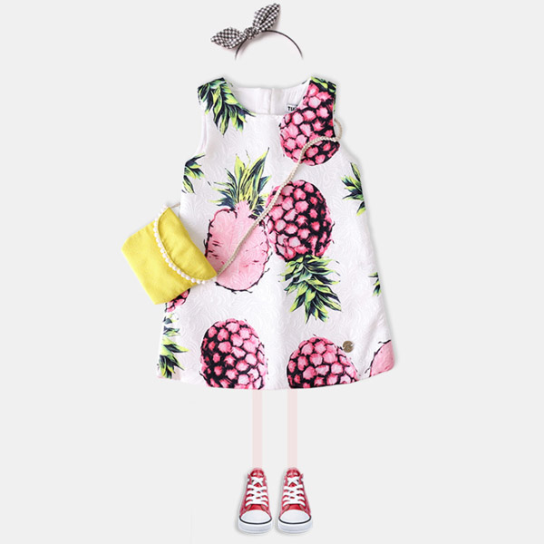 2017 Spring and Autumn New Girls Pineapple Print Children's Skirt Dress