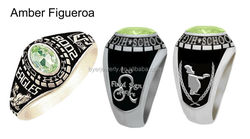 polished stainless steel high school class rings cheap cost with deeply engraved