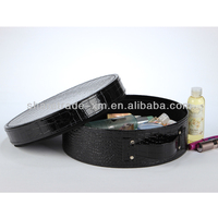 Portable small hard PU leather round cosmetic bag