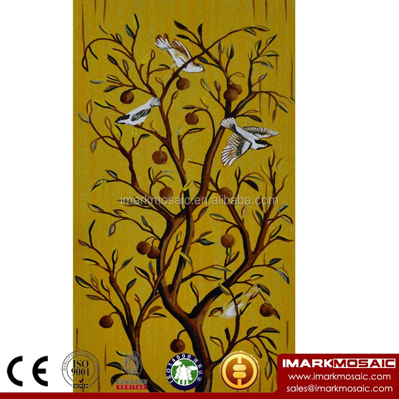 IMARK Traditional Bird Mosaic Tile Pattern/Mosaic Mural/Hand Cut Mosaic Tile Mosaic Art For Cafe House Wall Decoration
