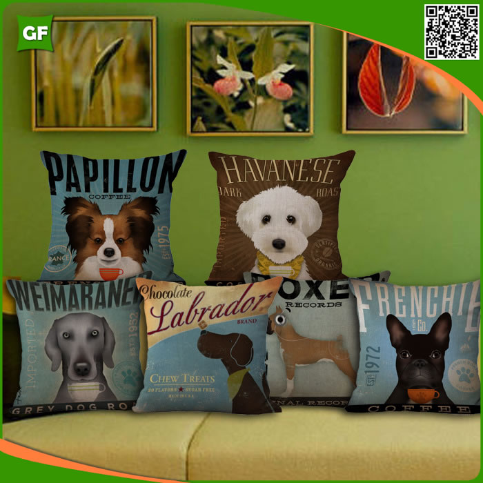 Home Decor Creative Vintage Animals Dog Digital Printed Polyester Cushion Cover Washable Pillow Case Car-styling