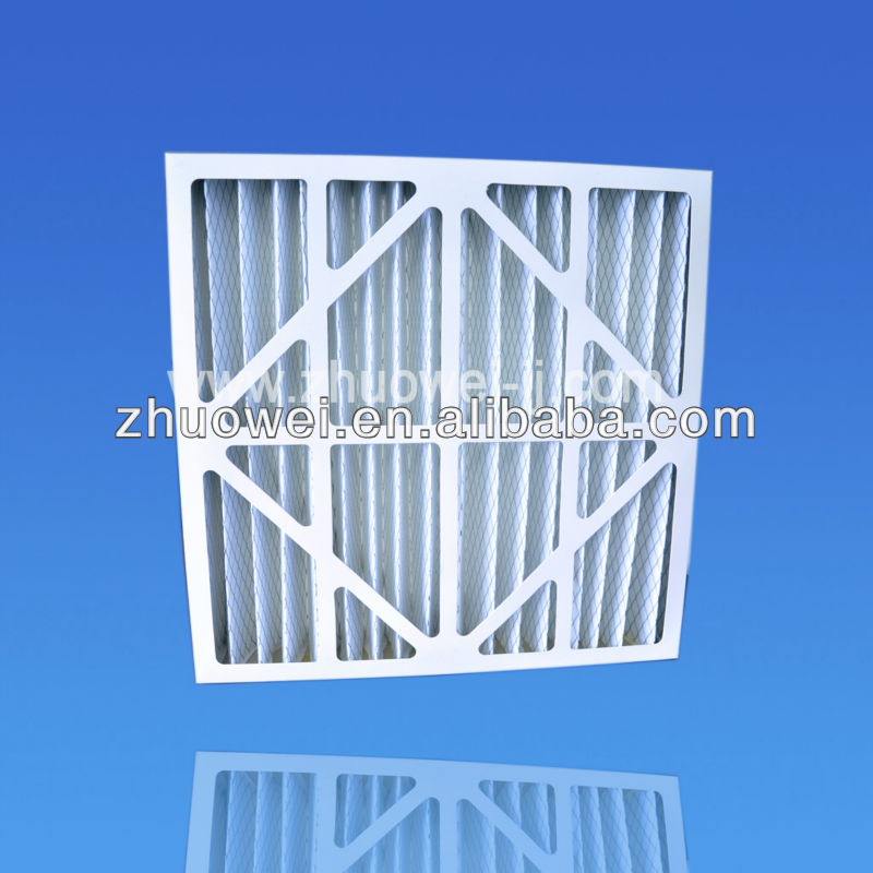 Water-resistant cardboard/ paper frame pleated air filter for home air conditioner/gas turbine pre filter