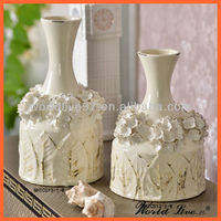 NHTC813-1-2-W Cream White hand-made flower ceramic vases China Home Decoration Items