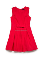 Red & Blue Uniform Looking Modern Sleeveless Dresses For Girls W/Bow Tie Small Pocket