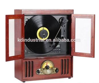 Hottest Sales Hang on the wall Wooden Vinyl Player Turntable Record Player Top load CD Player with Bluetooth SD turntable
