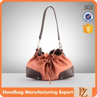 M2201New style cotton fabric canvas drawstring ladies shoulder bag with PU strap and bottom