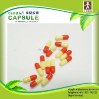 FDA certificated size 0 red and yellow organic vegetarian capsules