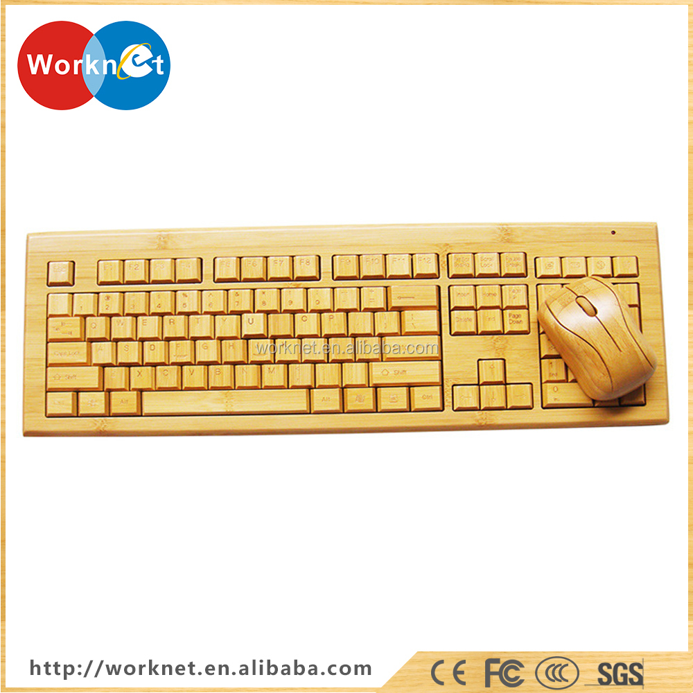 2017 new arrival natural bambooo wireless keyboard and wireless mouse, Swiss layout wireless keyboard and mouse bamboo