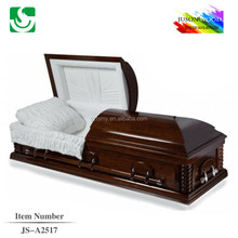 wholesale Sienna painting high quality white interior wooden casket