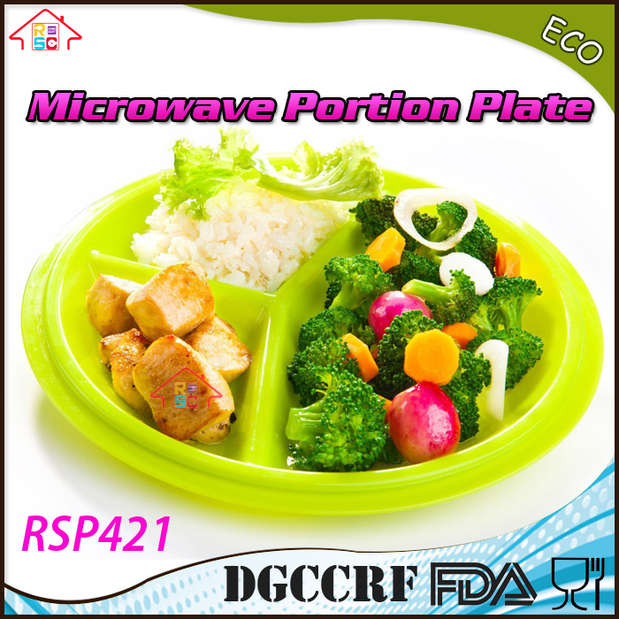 Microwave Portion Control Plates pack 2-pieces 3-Section meal prep 3-compartment Diet Plate with Leak-Proof Lids