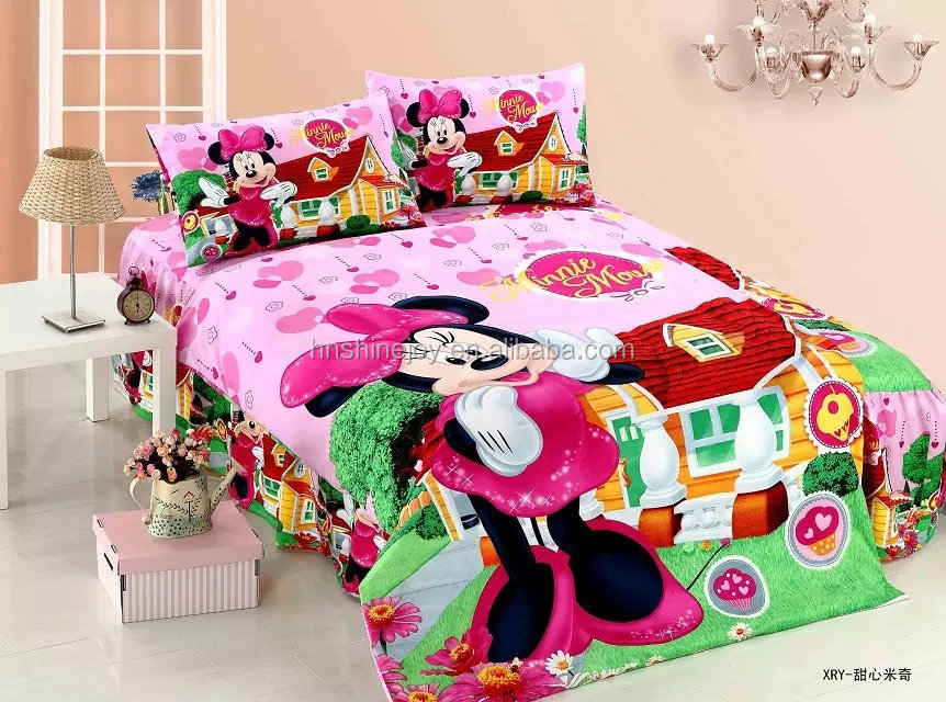 hot-sellling disposable 100% cotton single size kids cartoon bedding sets mickey mouse bed sheet