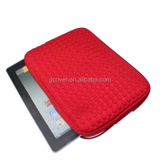 10.1 inch Custom red color with point surface waterproof tablet bag neoprene sleeve for samsung galaxy tab