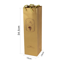 Cotton Handle Ribbon Decorated Paper Bag for Wine Moving