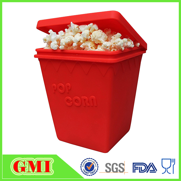 100% FDA Approved Non-stick Silicone Popcorn Maker Bowl with Lid