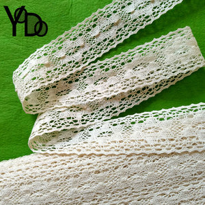 YQ-LC31 Flower new design 4.8cm off white cream Knitting textile cotton lace tape