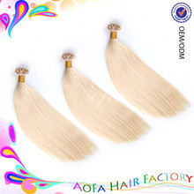 7A wholesale unprocessed Pre bonded I-tip Hair Extensions blonde Brazilian human hair extensions I tip hair extensions