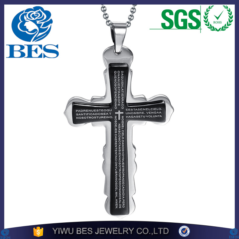 Bible Scripture Cross Necklace for Men Stainless Steel Jewelry Silver Black Cross Pendant Gift Party