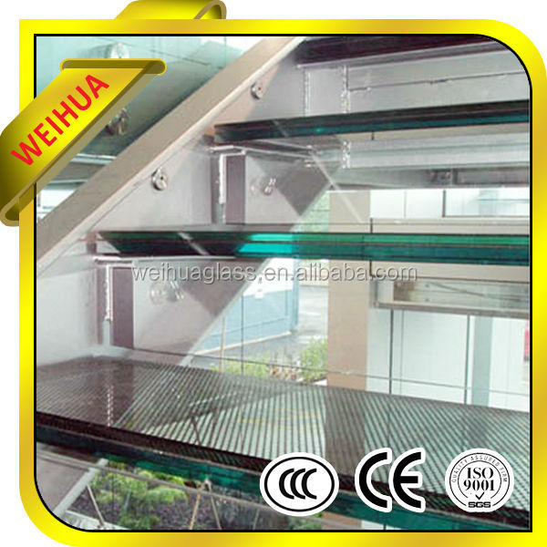 safety Anti-Slip sand blasted Laminated glass stairs price with CE/CCC/ISO