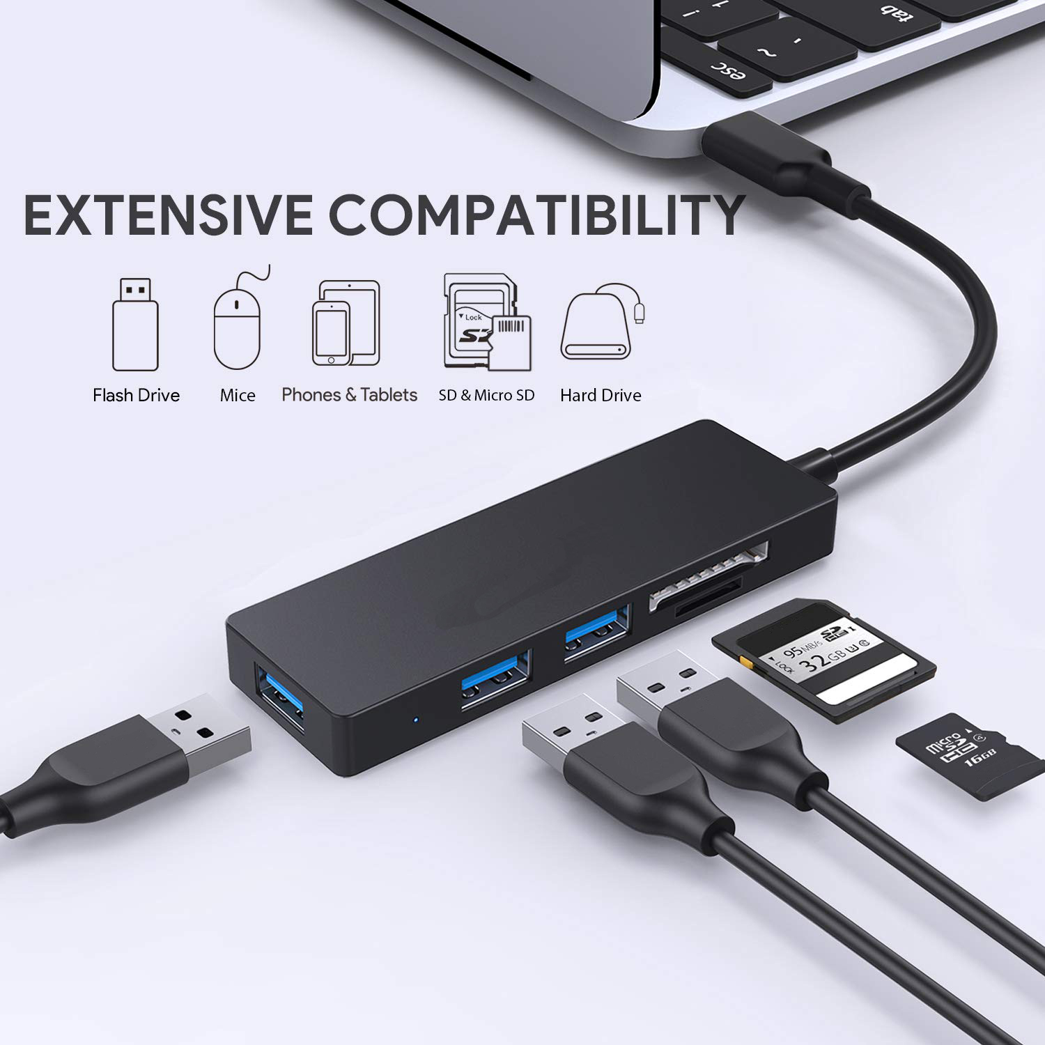 2019 New Multiport 4 in 1 USB C Hub for Macbook with USB3.0 SD TF Type C Adapter Hub