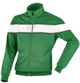 green and black good quality polyester bomber jacket with zipper and cuff ribbed