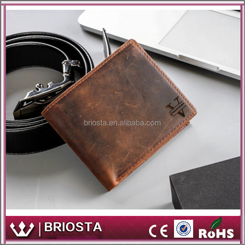 2017 New Valentine Gift Personalized Monogrammed Mens Leather Wallet