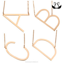 Alibaba wholesale Cheap Alphabet Personalized Large Oversized Letter Sideway Initial Necklace,yiwu stainless steel factory