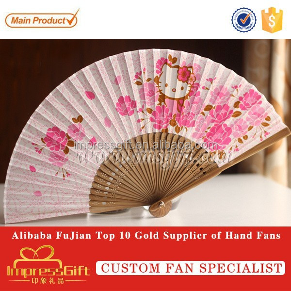 New Beautiful Oriental Silk Hand BAMBOO FAN with Cartoon
