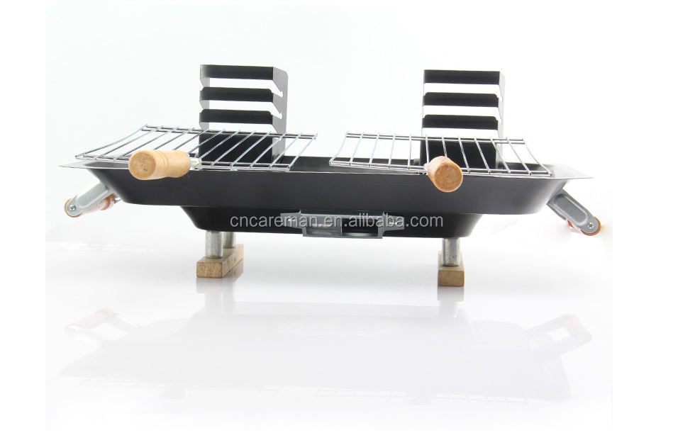 All Steel Hibachi Barbecue Grill, Table Top Iron Hibachi Charcoal BBQ w/Twin Grill Netting & Wooden Leg OEM Orders Accepted