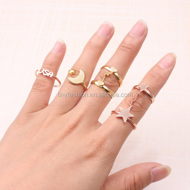 latest gold ring designs european women jewelry knuckle ring adjustable band fashion ring