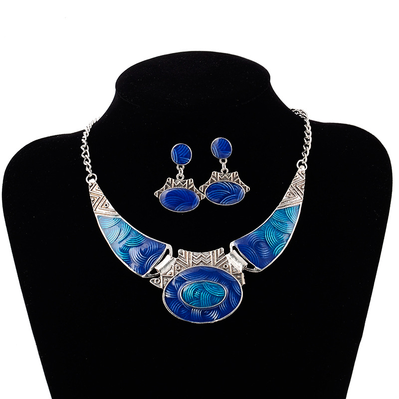 Exaggerated silver plated Choker Chunky Statement Pendant Bib Necklace Earring Jewelry Set
