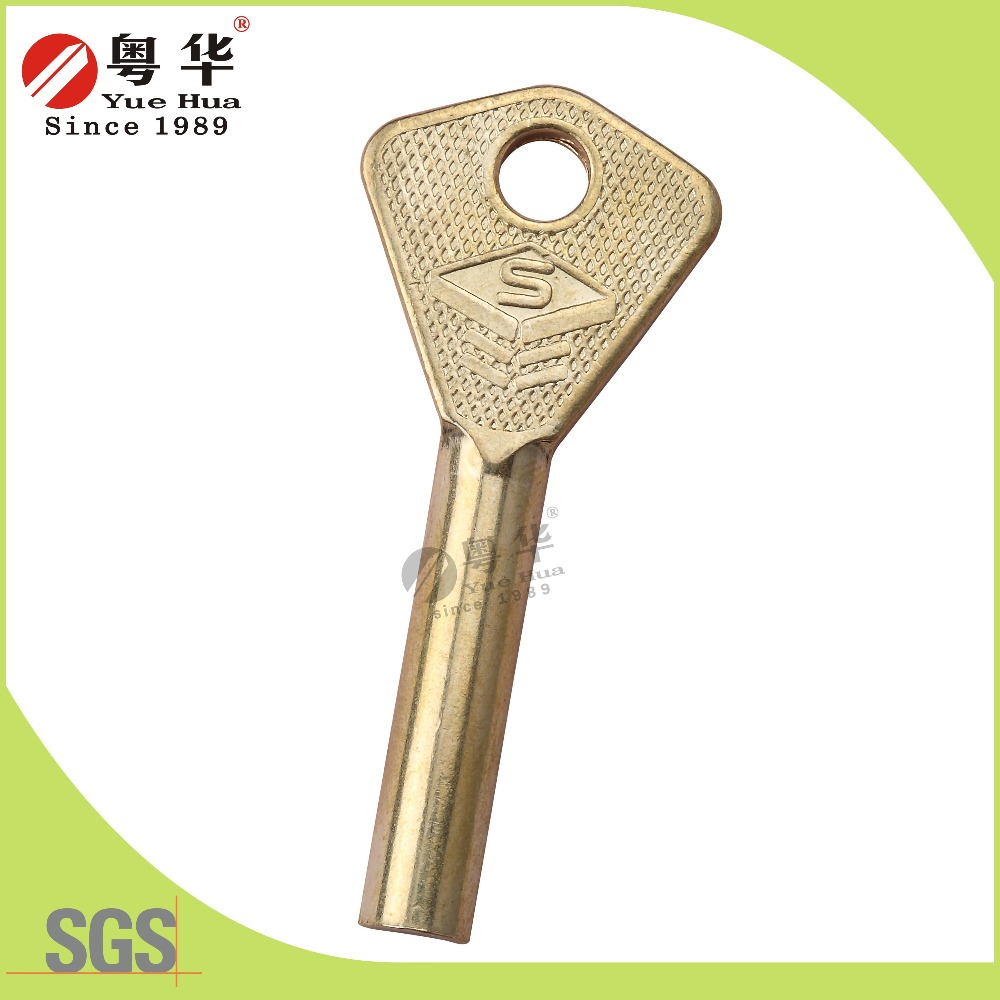 Factory wholesale golden brass security diamond key blank from YUEHUA KEY BLANK CO.