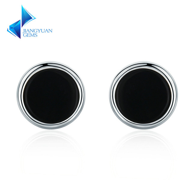 Genuine 925 Sterling Silver Round Black Enamel Letter Stud Earrings For Unisex Party Jewelry