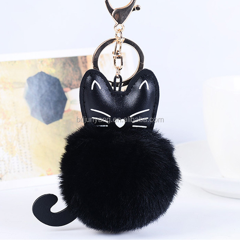 faux fur pompom ball keychain fur pom pom ornament flamingo keychain