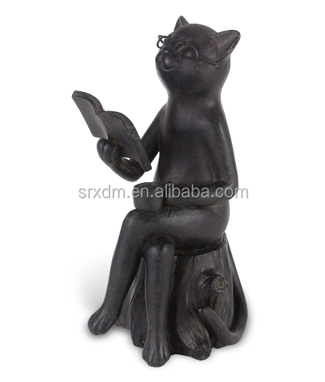 custom make high quality polyresin Reading Tree Cat Figurine, new resin product