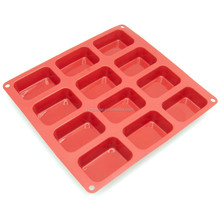 12-Cavity Petite Silicone Mold for Soap, Bread, Loaf, Muffin, Brownie, Cornbread, Cheesecake, Puddingsilicone shallow baking pan