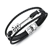 Marlary Stainless Steel Guitar Charm Men's Punk Wrap Leather Multilayer Bracelet