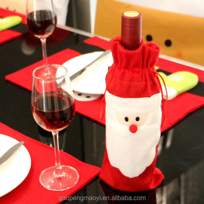 Santa Claus Christmas <strong>Decoration</strong> for Home Xmas Wine Bottle Bag Party Banquet <strong>Decoration</strong> for Christmas Xmas Wine Bottle Cover