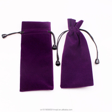 Velvet Drawstring Pouch with Knot Bead, Purple Velvet Pen Pouch