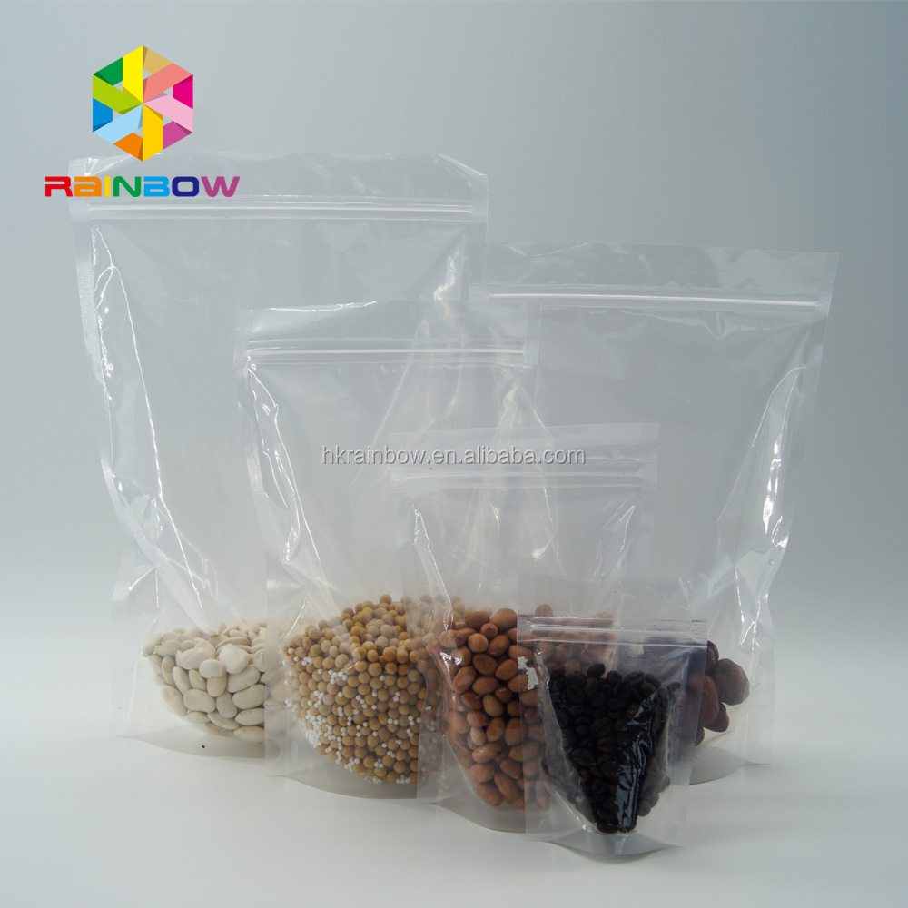 Wholesale 18*26cm Clear doypack bag with zipper/Recyclable food stand up pouches/Reusable plastic bag for nuts