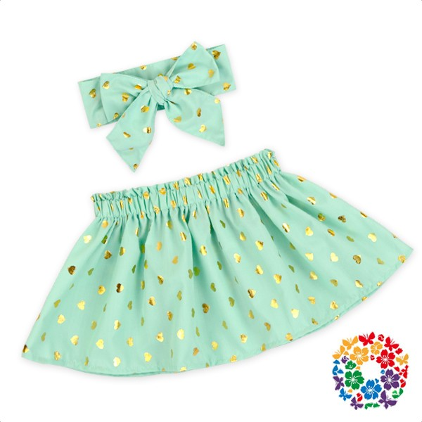 Baby Girls Aqua Skirt Heart Shape Polka Dots Cotton Dress Fashionable Skirts