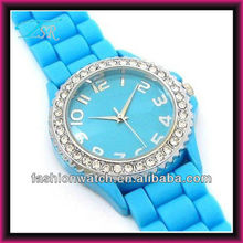 colorful silicone watch 2016New stylish japan movement, geneva watch custom made
