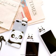 Cheap 3D Cute Panda Cartoon Animal Black and White translucent Silicone Rubber Soft Flexible Phone Case with Sling for iPhone8