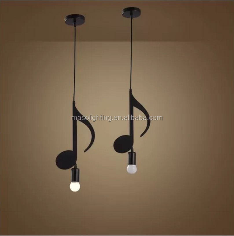 Zhongshan Factory OEM Fashion Music Note character pendant lamp Music bar cafe decor post modern loft industrial puzzle light