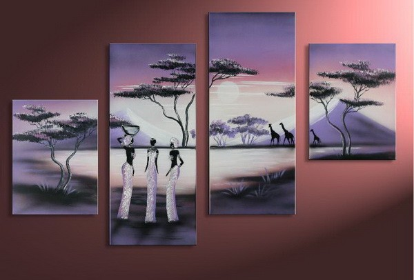 New african landscape wall artwork modern hand pianted framed oil painting