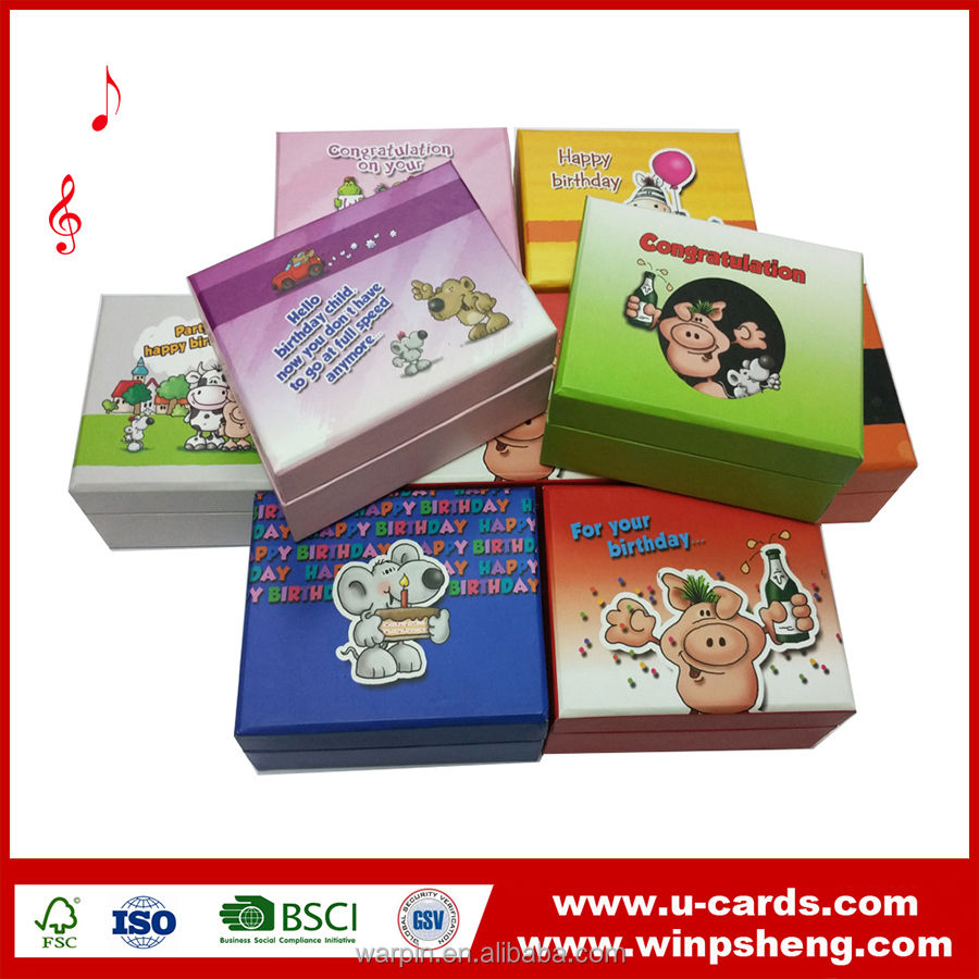 Cheap Eco-friendly Handmade Sound recordable Papar box Custom music as you like
