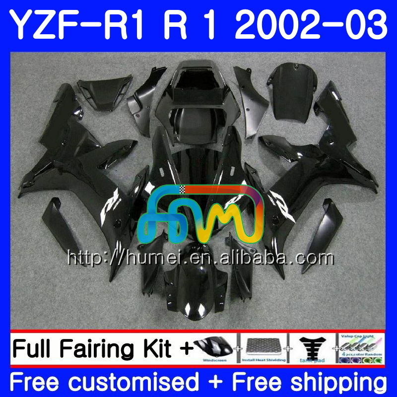 Body For YAMAHA YZF 1000 YZFR1 gloss black <strong>02</strong> <strong>03</strong> YZF-1000 Bodywork 99HM23 YZF R 1 YZF <strong>R1</strong> <strong>02</strong> <strong>03</strong> YZF1000 YZF-<strong>R1</strong> 2002 2003 <strong>Fairing</strong>