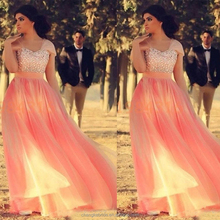 Latest Collection Heavy Beading Prom Dresses Plus Size Net Peach Western Prom Dress Women