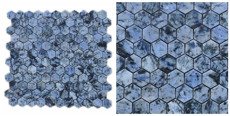 Decorstone24 China Factory Natural Blue Granite Mosaic Tile Backsplash Mini Hexagon Polished
