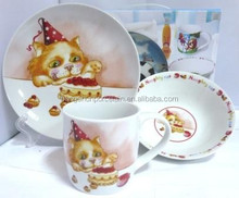 China Housewares Colorful Decal Ceramic 3pcs Children Dinner Set